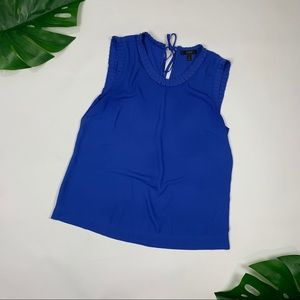 J. Crew Royal Blue Sz 8 business tank ruffle neck